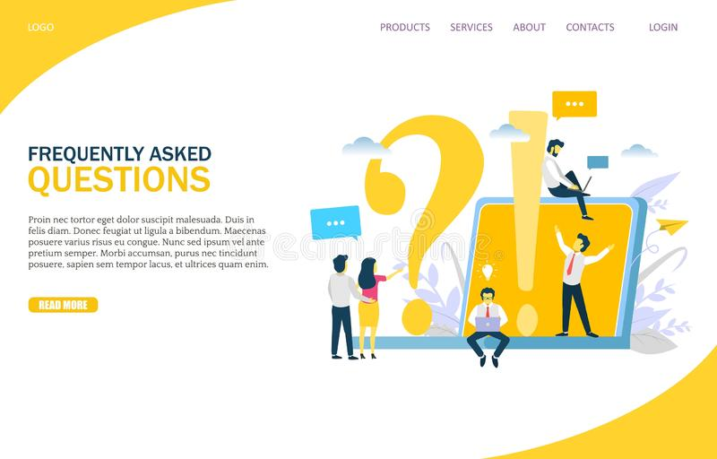 Frequently asked questions vector website landing page design template vector illustration