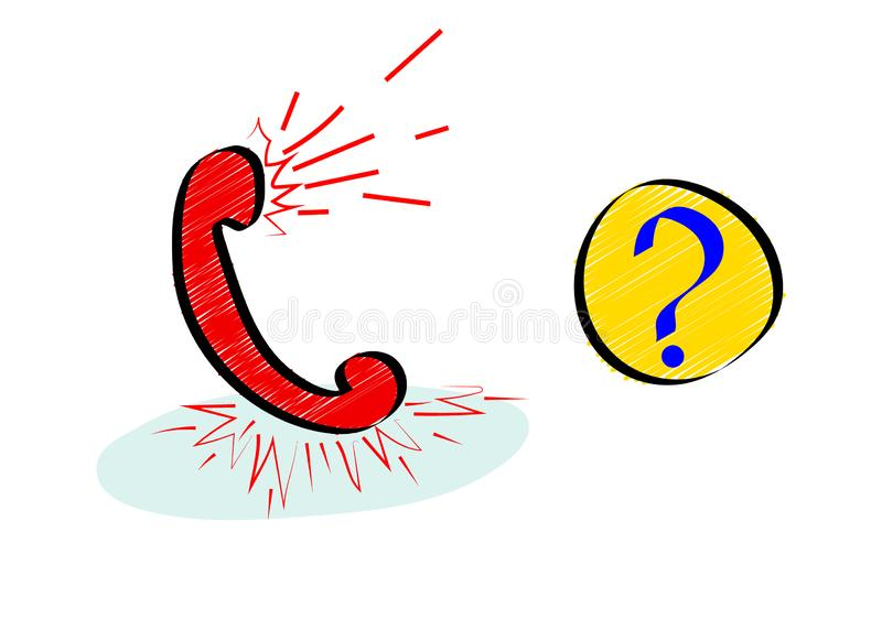 Frequently asking questions or hotline icon with red handset in doodle style. stock illustration