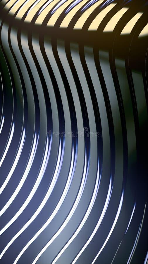 Frequenzbandzusammenfassungshintergrund Helle farbige Reflexionen auf dunkler metallischer Oberfläche Wiedergabe 3d lizenzfreie abbildung