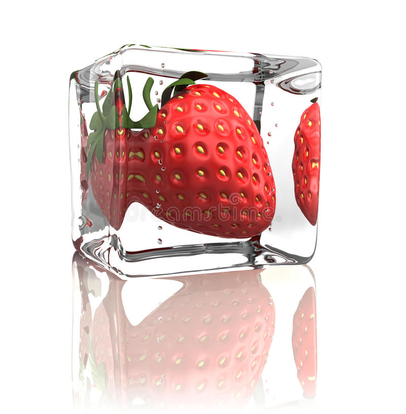 Fresa congelada en cubo de hielo ilustración del vector