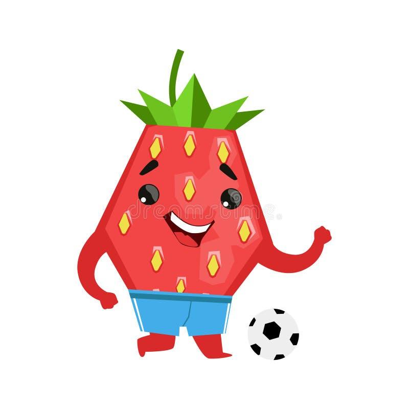 Fresa del futbolista con una bola Ejemplo lindo del vector del carácter del emoji de la historieta stock de ilustración