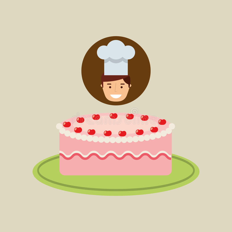 Fresa deliciosa de la crema de la torta del postre del cocinero de la historieta stock de ilustración