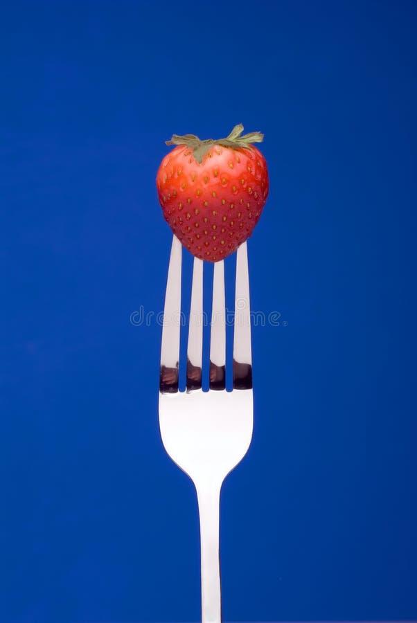Fresa en la fork - fondo azul fotos de archivo