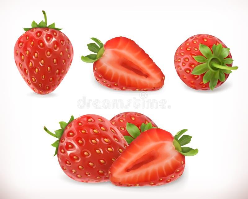 Fresa Fruta dulce iconos del vector 3d fijados ilustración del vector