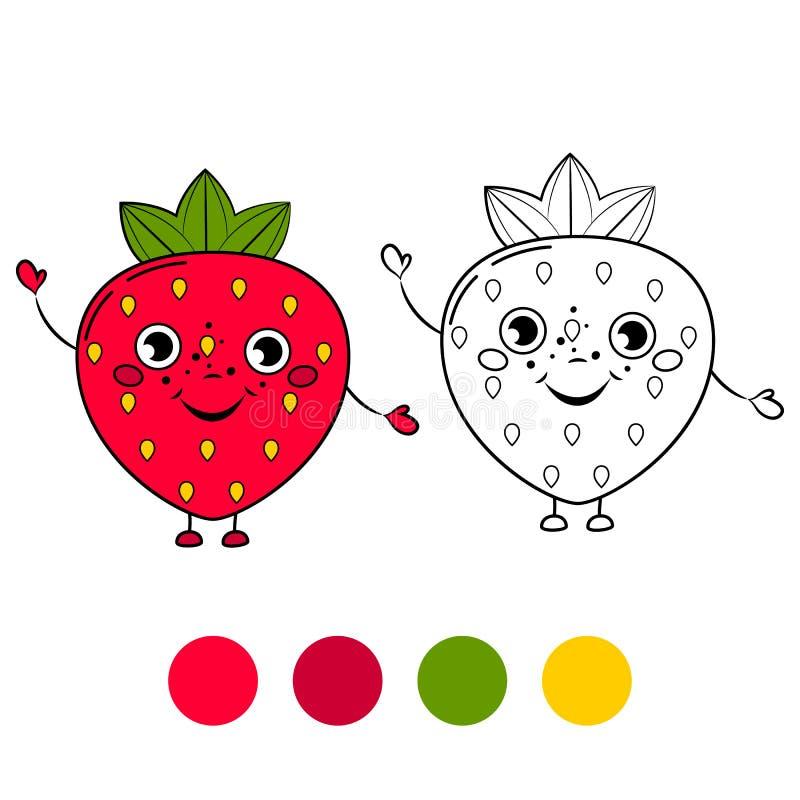 Fresa Página del libro de colorear stock de ilustración
