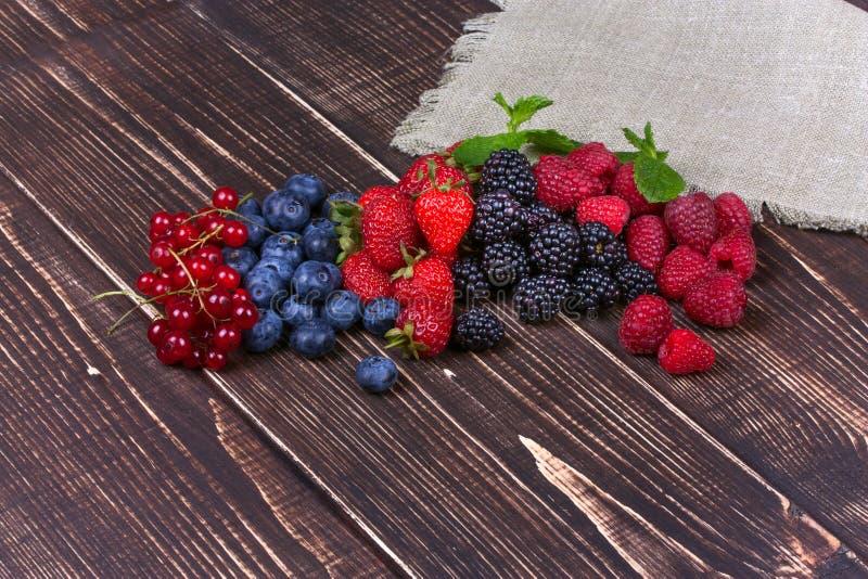 Fresas, arándanos, zarzamoras, frambuesas y pasa foto de archivo libre de regalías