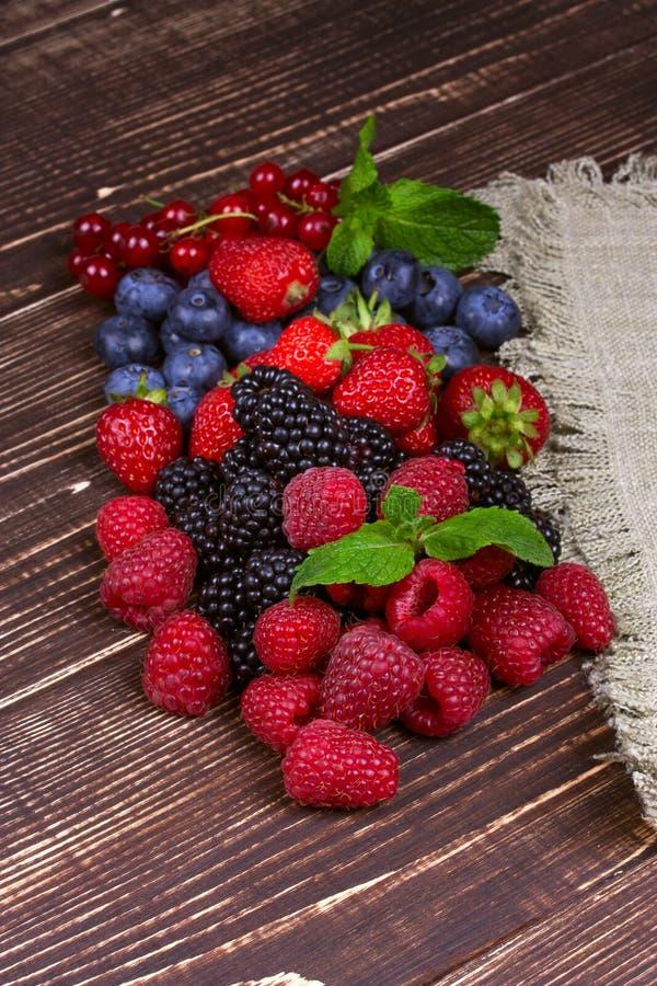 Fresas, arándanos, zarzamoras, frambuesas y pasa foto de archivo