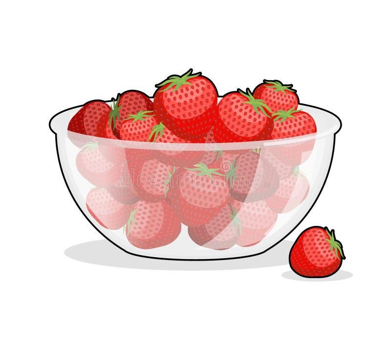 Fresas en bol de vidrio bayas en placa profunda del plato - Bol de vidrio ...