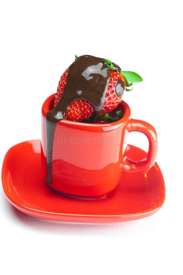 Fresas en chocolate imagenes de archivo