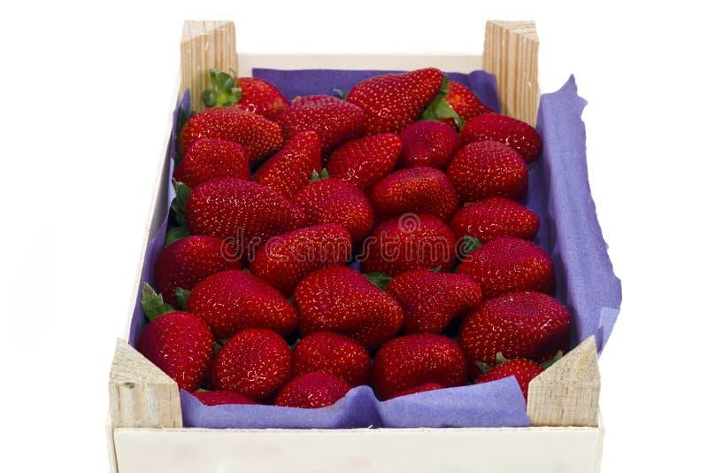 Fresas frescas en un embalaje de madera fotos de archivo