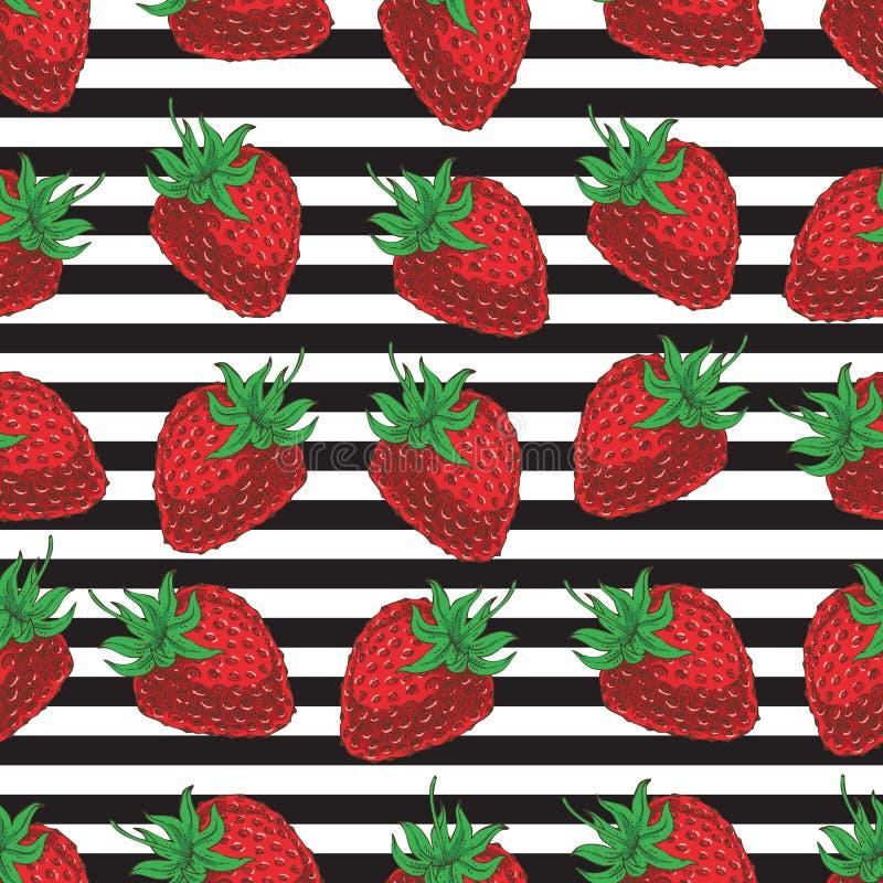 Fresas inconsútiles rayadas del modelo libre illustration