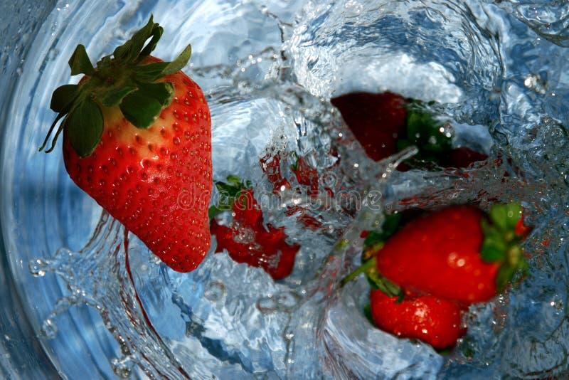 Fresas Jugosas Caídas En Agua Imágenes de archivo libres de regalías