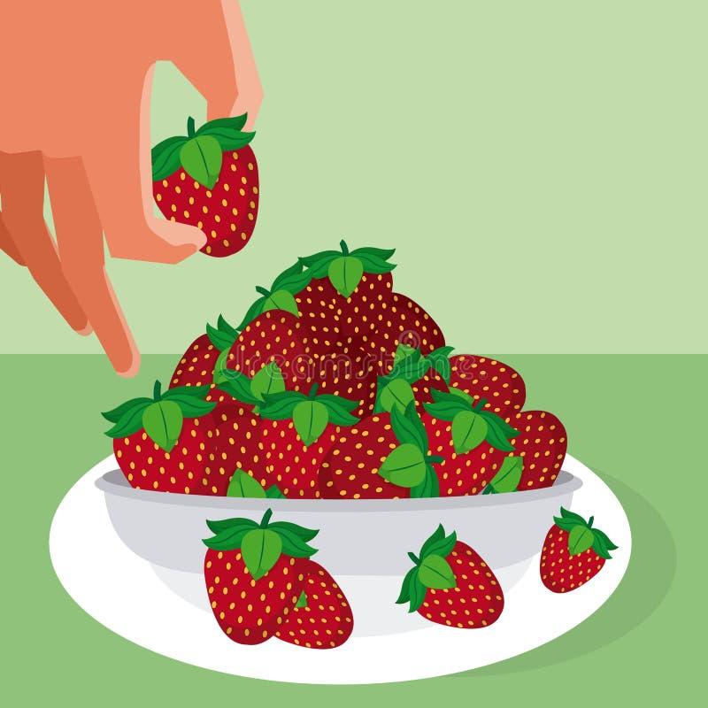 Fresas que asen de la mano libre illustration