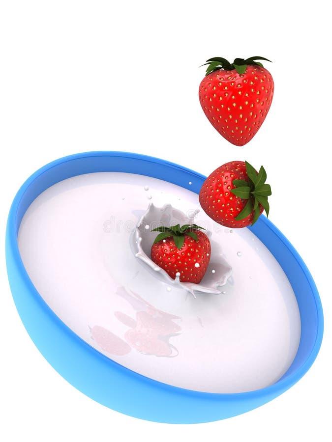 Fresas que caen ilustración del vector