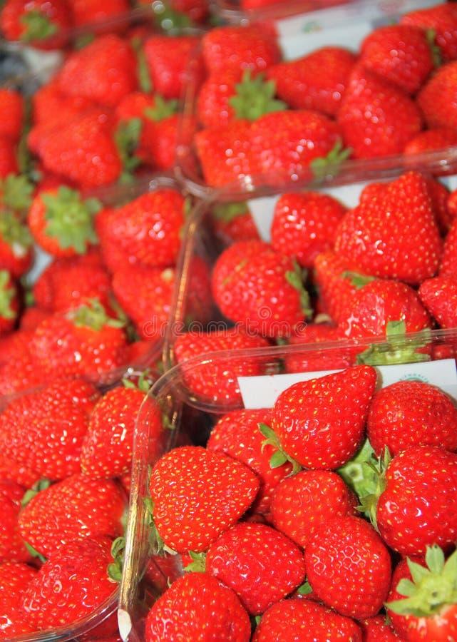 Fresas rojas dulces frescas de las fresas rojas foto de archivo