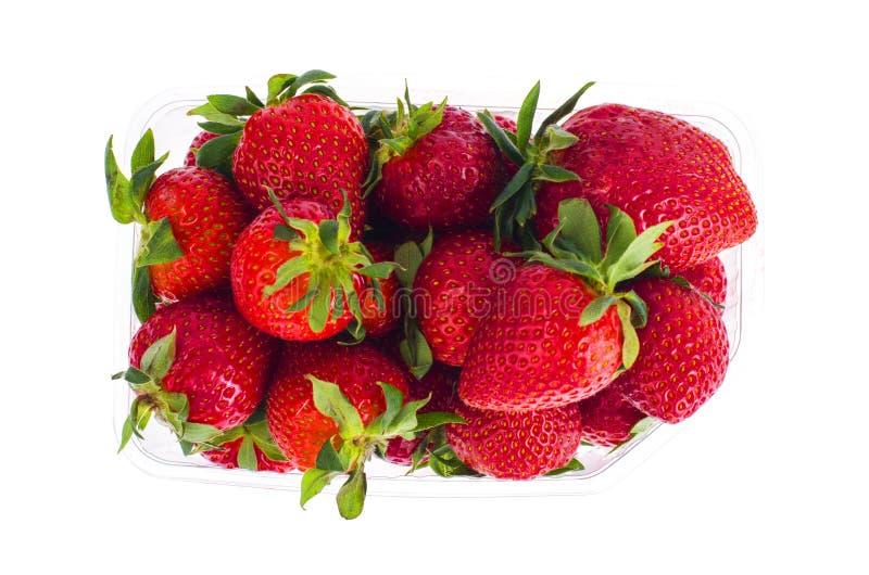 Fresas rojas dulces frescas en envase de plástico fotografía de archivo