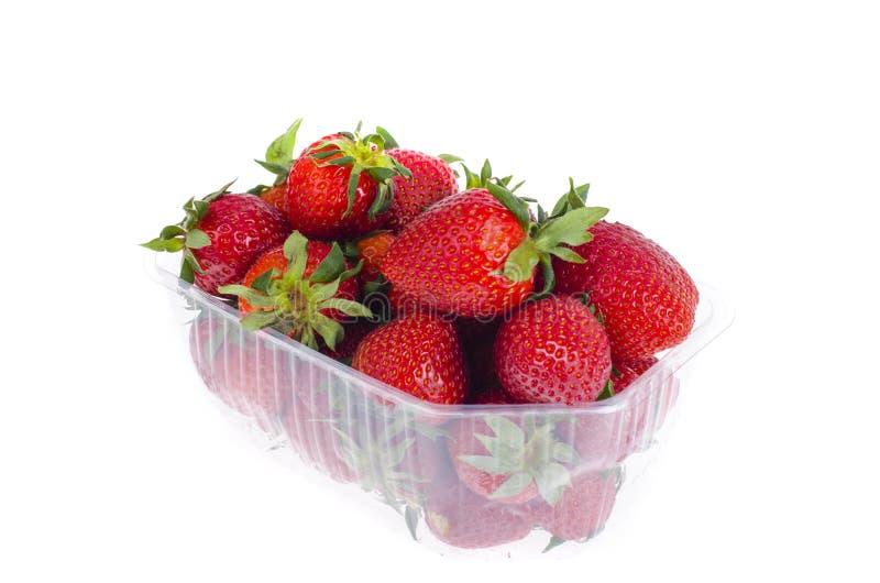 Fresas rojas dulces frescas en envase de plástico imagen de archivo libre de regalías