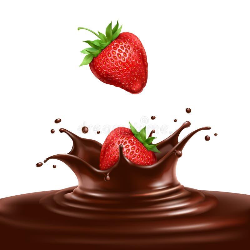 Fresas sumergidas en chocolate libre illustration