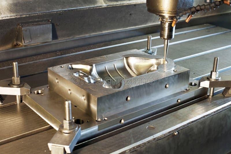 Fresatura industriale della forma metallica/spazio in bianco Tecnologia e metallo di CNC immagini stock