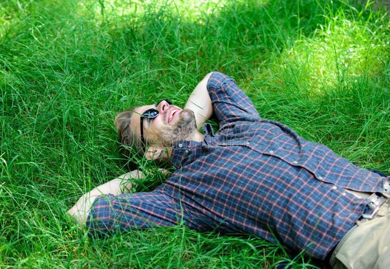 Freschezza naturale Pantaloni a vita bassa barbuti dell'uomo uniti alla natura La natura lo riempie di freschezza e di ispirazion fotografie stock libere da diritti