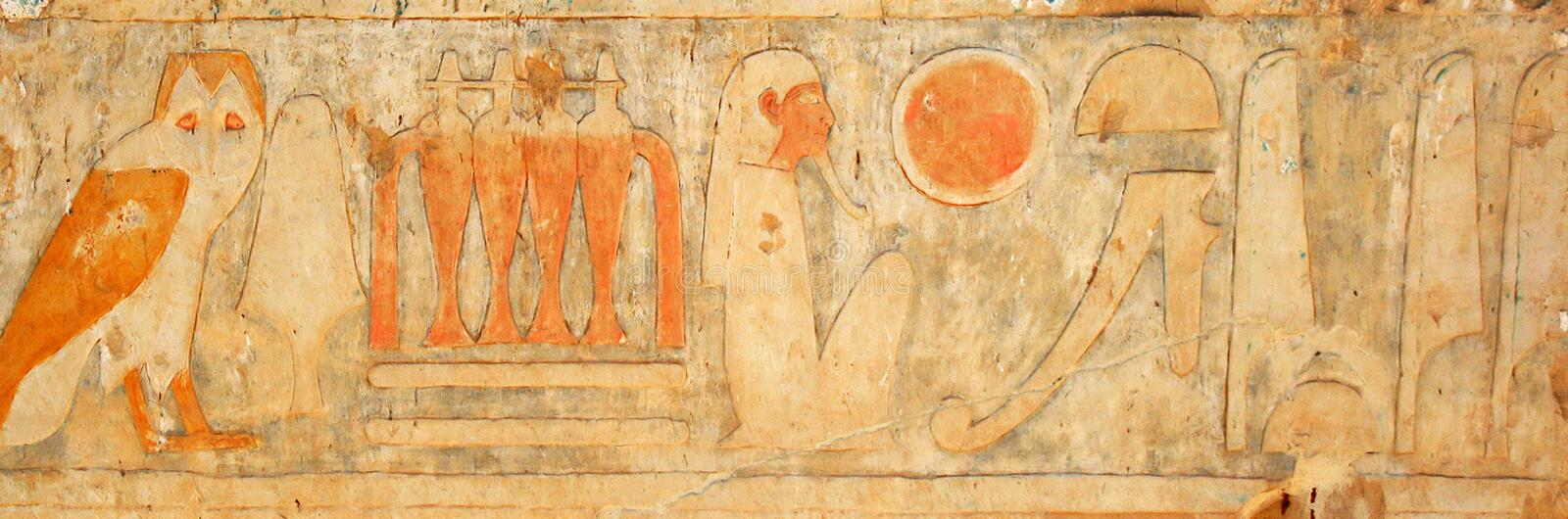 Fresco. Fragment of Egyptian fresco on the wall of Temple of Hatshepsout royalty free stock photography