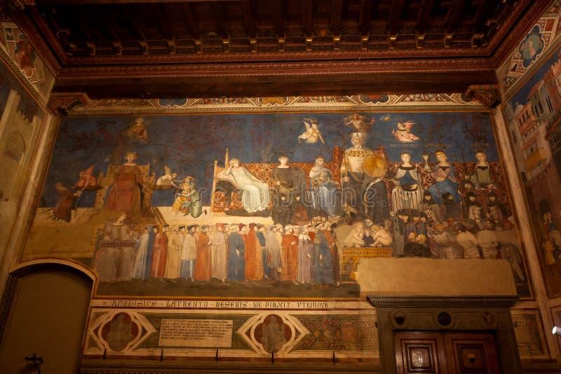 Fresco Allegory of the Good Government, Lorenzetti, Council Room Sala dei Nove, Palazzo pubblico, Siena, Toscana, Itália fotos de stock