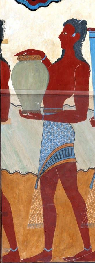 Fresco antigo de Knossos, Crete foto de stock