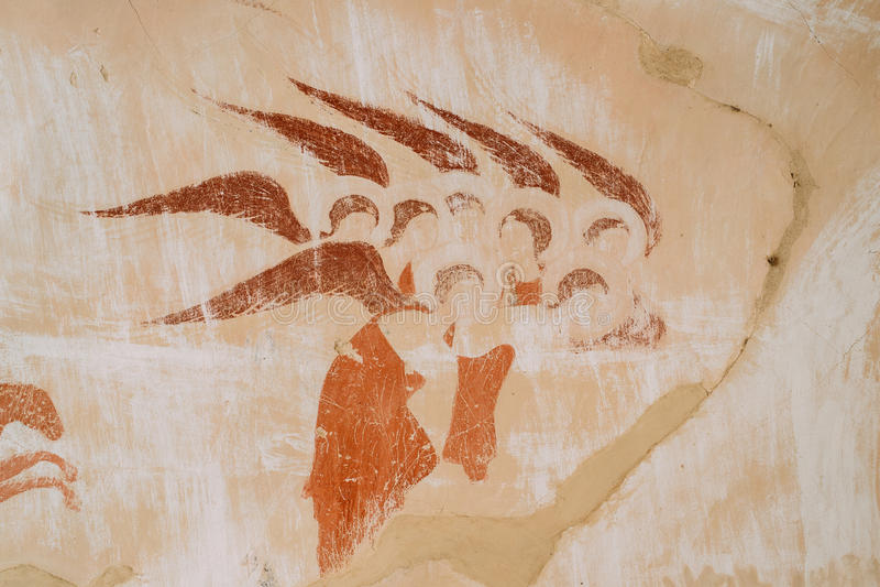 Fresco antigos nas paredes das cavernas de David Gareja Monastery Complex imagens de stock royalty free