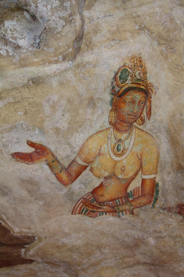 Fresco antiguo de Sigiriya fotografía de archivo libre de regalías
