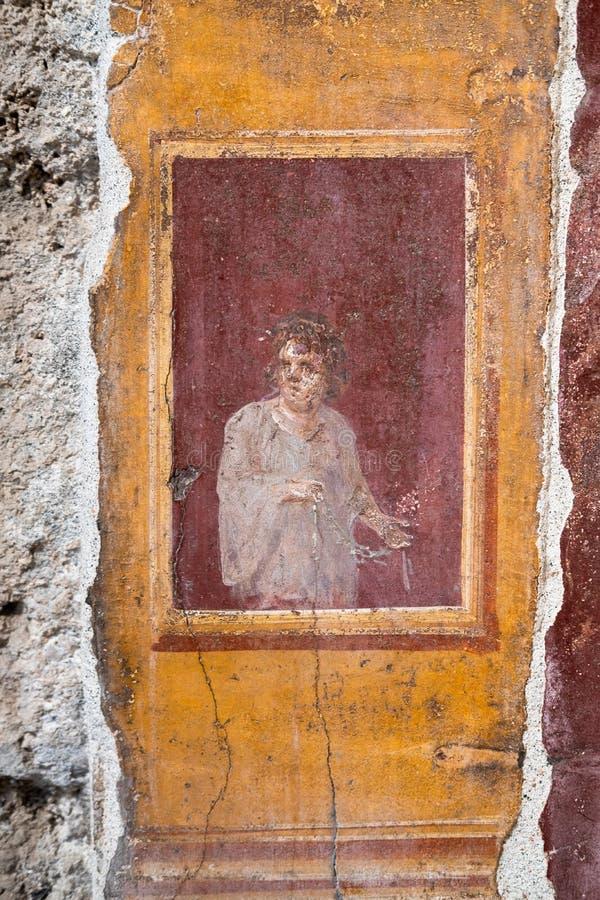 Fresco antiguo de una casa en Pompeya fotos de archivo libres de regalías