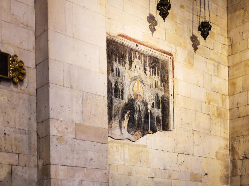Fresco antiguo en Basilica di San Zeno en Verona imagen de archivo
