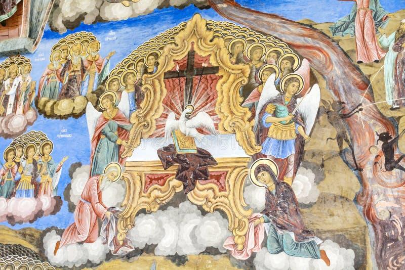 Fresco antiguo hermoso en la pared en la iglesia del monasterio de Rila imágenes de archivo libres de regalías