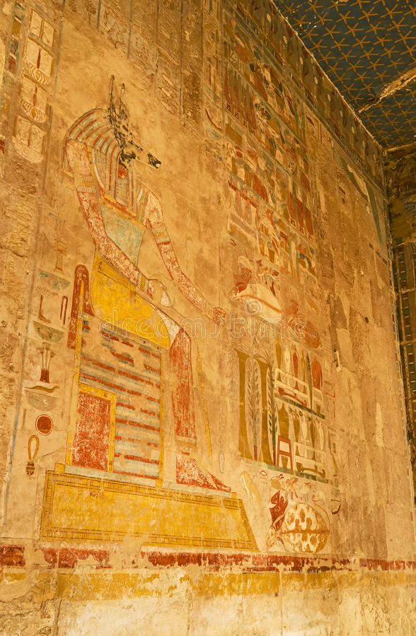 The fresco of Anubis. The fresco, depicting ancient god Anubis on the wall of Hatshepsut Temple, Luxor, Egypt stock image