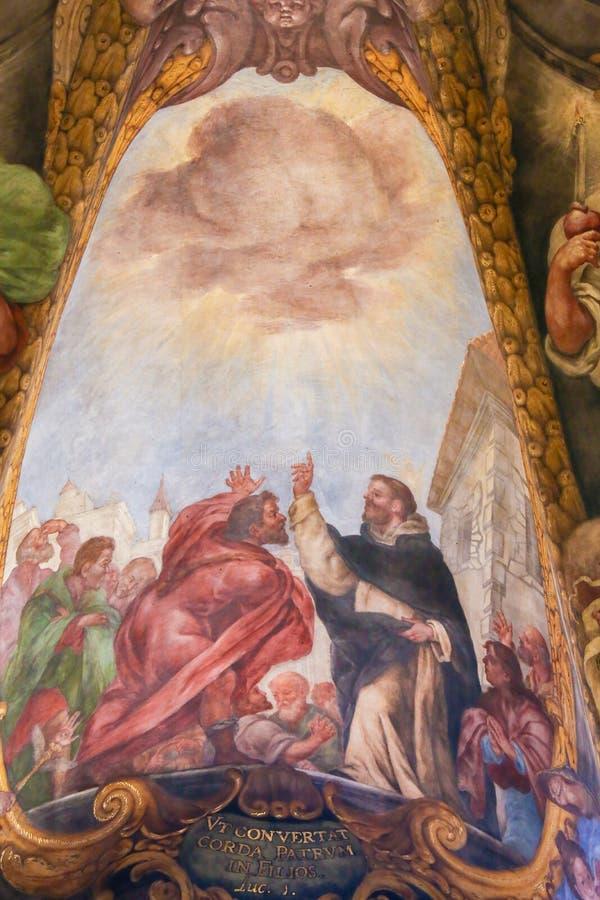 Fresco barroco de San Pedro de Verona en Valencia fotografía de archivo