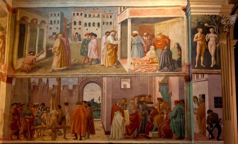 Fresco Brancacci Chapel Santa Maria del Carmine church, Florence, Firenze, Toscany, Italy stock photography