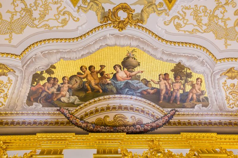 Fresco in The Catherine Palace, Baroque summer home of the Russian czars - Saint Petersburg, Russia stock photography