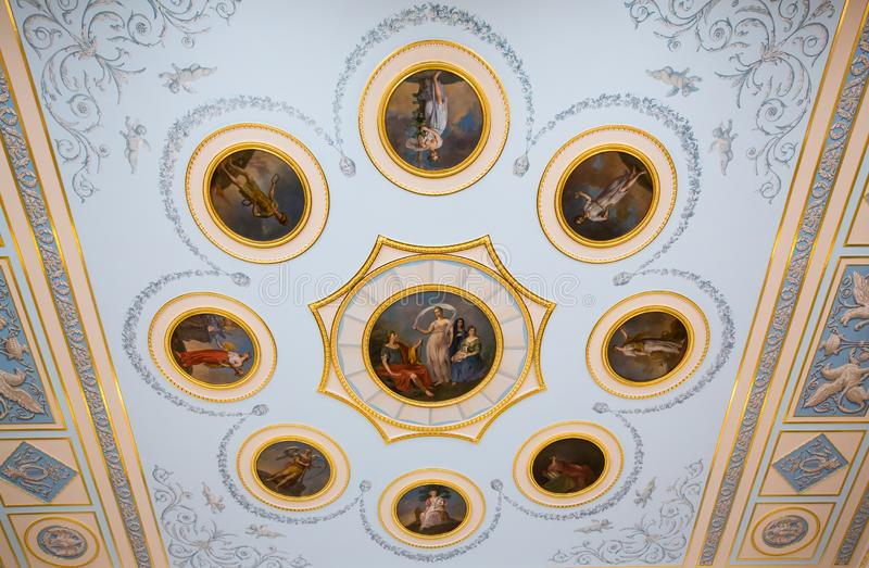 Fresco in The Catherine Palace, Baroque summer home of the Russian czars - Saint Petersburg, Russia royalty free stock photography