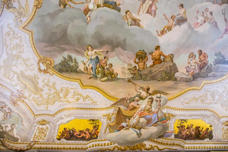 Fresco in The Catherine Palace, Baroque summer home of the Russian czars - Saint Petersburg, Russia stock images