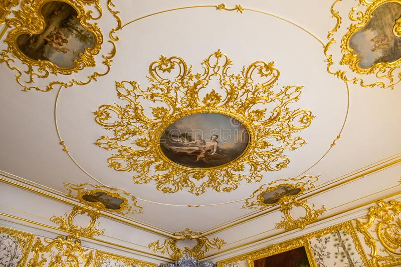 Fresco in The Catherine Palace, Baroque summer home of the Russian czars - Saint Petersburg, Russia royalty free stock images