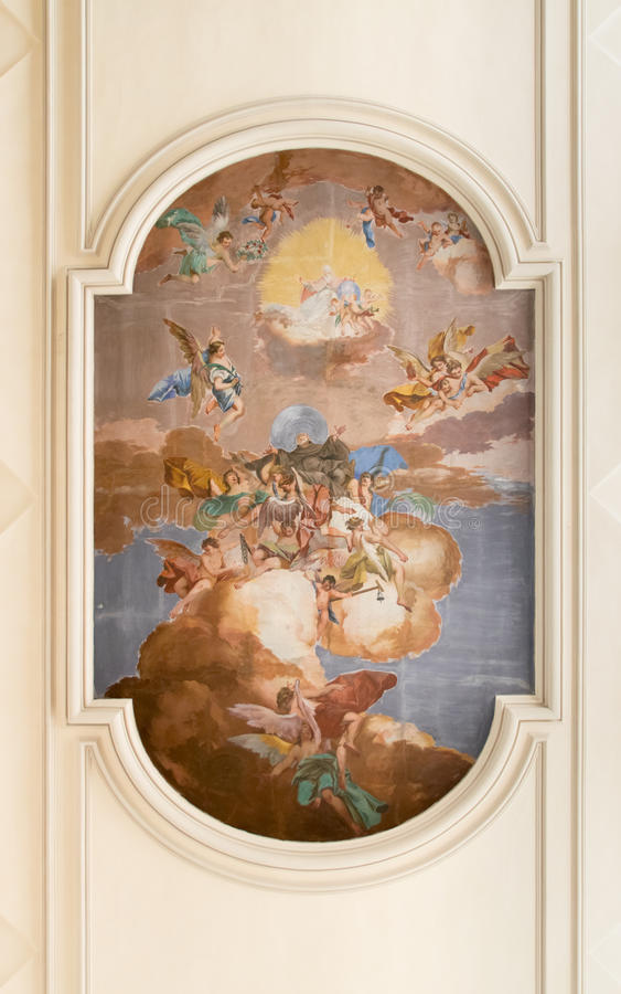 Fresco on the ceiling of the church of Saint Anthony Abbot. stock images