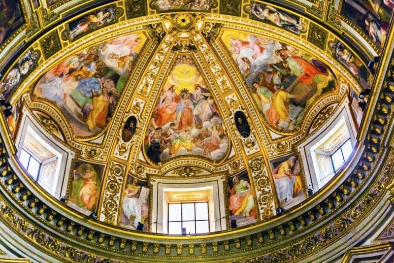Fresco Chiesa San Marcello al Corso Church Rome Italy da abóbada foto de stock royalty free