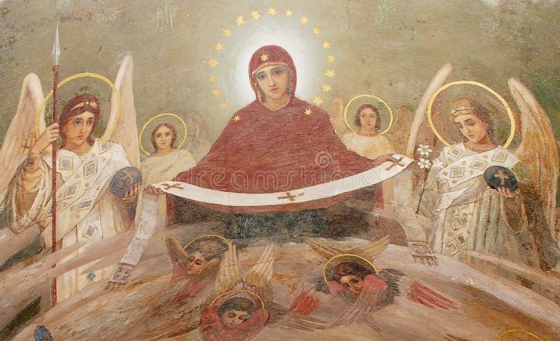 Fresco on a church royalty free stock photos