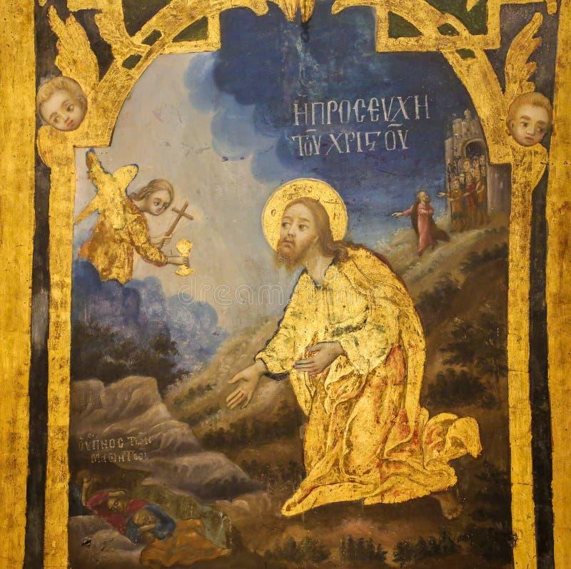 Fresco in Church of the Holy Sepulchre, Jerusalem - Jesus in the Garden of Gethsemane. Greek Orthodox Fresco in the Church of the Holy Sepulchre in Jerusalem royalty free stock photography