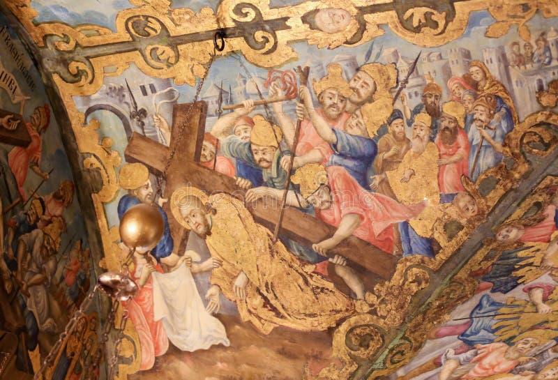 Fresco in Church of the Holy Sepulchre, Jerusalem - Jesus on the Via Dolorosa stock photo