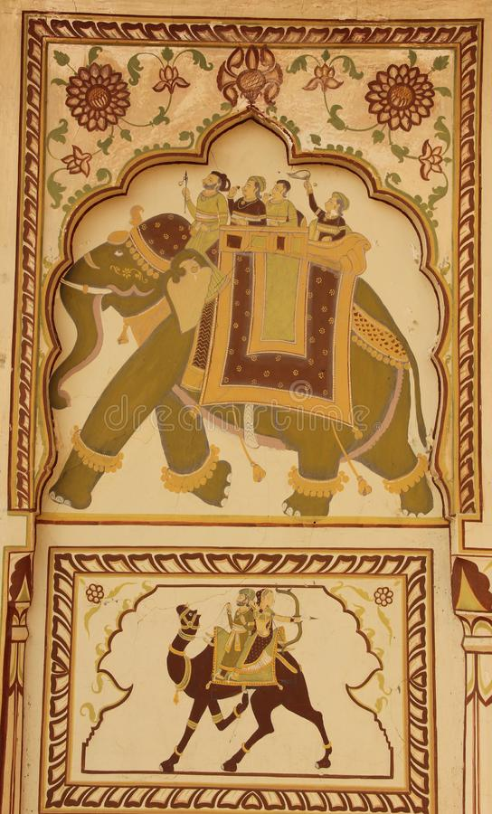 A fresco in the city of Mandawa. A hand painted fresco is painted on the ceiling of a Haveli in Mandawa, India royalty free stock image