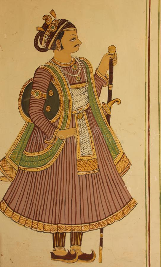 A fresco in the city of Mandawa. A hand painted fresco is painted on the ceiling of a Haveli in Mandawa, India stock photo