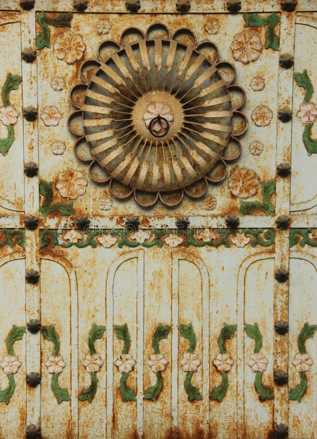 A fresco in the city of Mandawa. A hand painted fresco is painted on the ceiling of a Haveli in Mandawa, India stock images