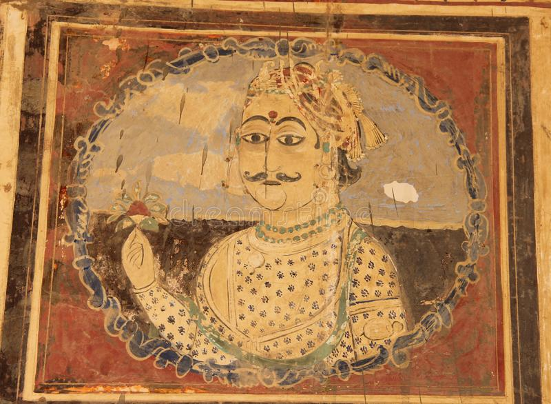 A fresco in the city of Mandawa. A hand painted fresco is painted on the ceiling of a Haveli in Mandawa, India stock photography