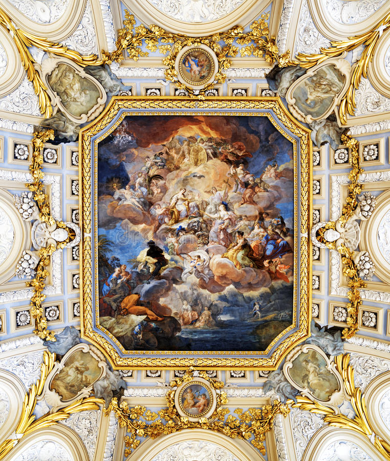 The fresco Corrado Giaquinto Â«Spain Pays Homage to Religion and. MADRID, SPAIN - AUGUST 18, 2014: The fresco Corrado Giaquinto Â«Spain Pays Homage to