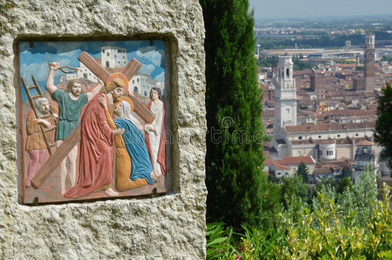 Fresco cristiano sobre Verona imágenes de archivo libres de regalías